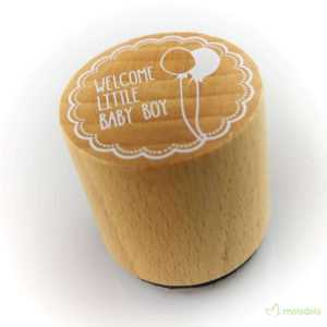 DIY Holzstempel - WOODIES ∅30mm - Welcome little Baby Boy 2