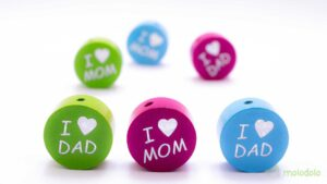 Glitzerperle – I ❤ Mom & Dad / Packung (10 STK) 7